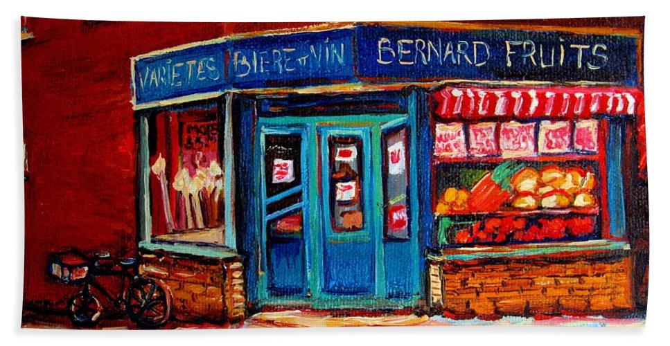 Bernard Fruit And Broomstore Bath Towel featuring the painting Bernard Fruit And Broomstore by Carole Spandau
