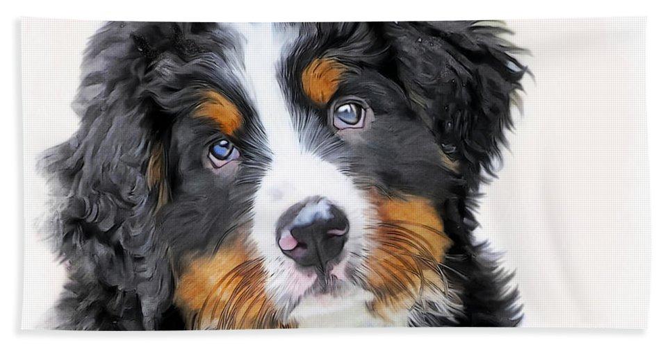 Berner-sennenhund Hand Towel featuring the digital art Berner-sennenhund by Marina Meedo