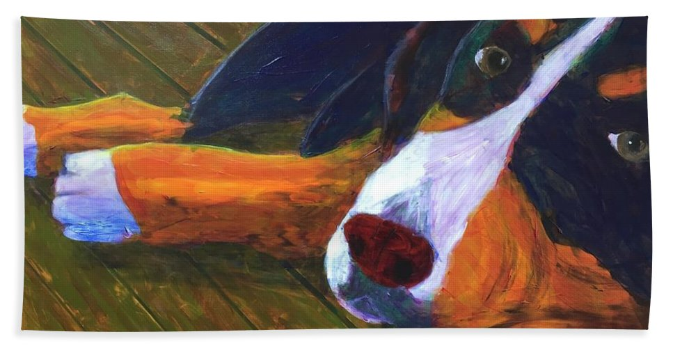 Bernese Mountain Dog Bath Sheet featuring the painting Bernese Mtn Dog On The Deck by Donald J Ryker III