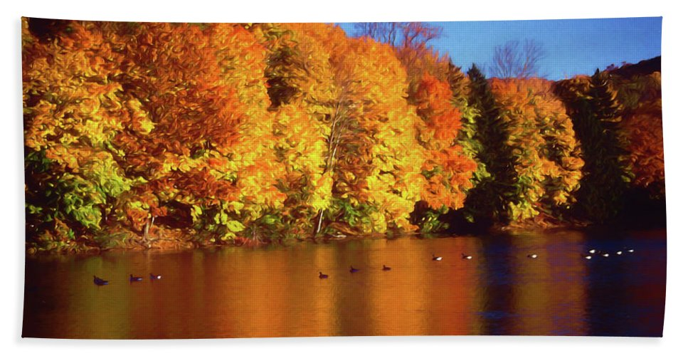 Bernharts Dam Bath Sheet featuring the photograph Bernharts Dam Fall 008 by Scott McAllister