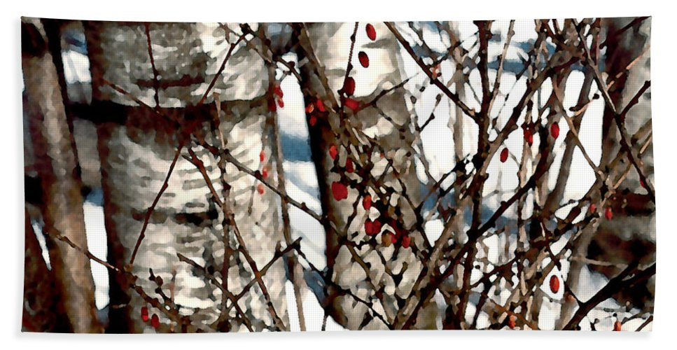 Trees Bath Sheet featuring the painting Berries And Birches by Paul Sachtleben