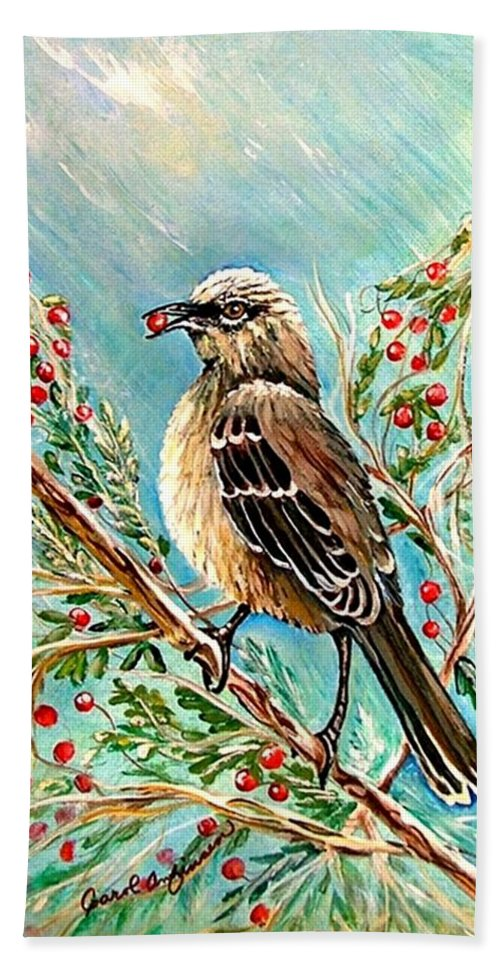 Mocking Bird Hand Towel featuring the painting Berry Picking Time by Carol Allen Anfinsen