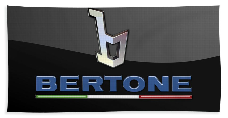 'auto Badges' Collection By Serge Averbukh Bath Towel featuring the photograph Bertone - 3 D Badge On Black by Serge Averbukh