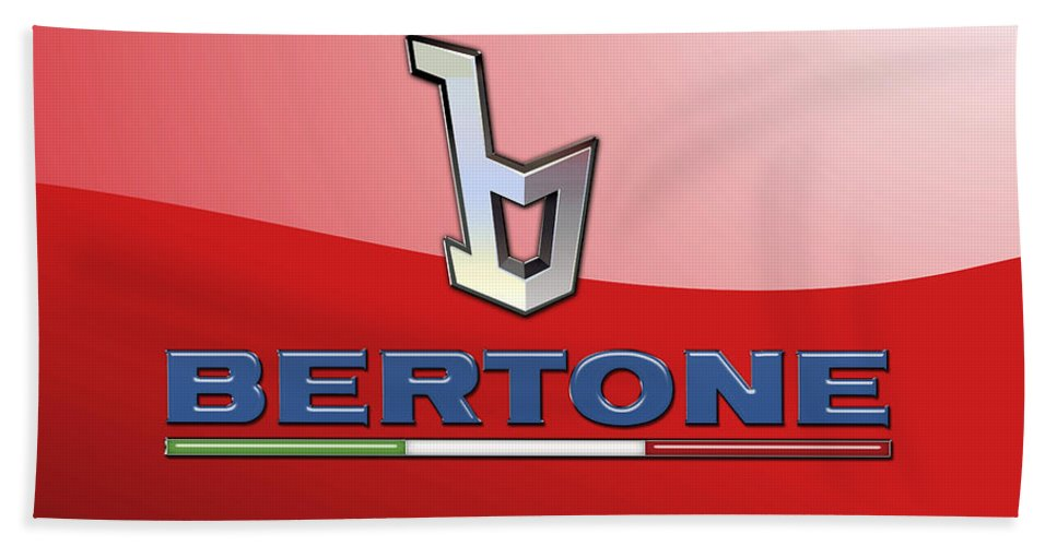 �wheels Of Fortune� Collection By Serge Averbukh Bath Towel featuring the photograph Bertone 3 D Badge on Red by Serge Averbukh