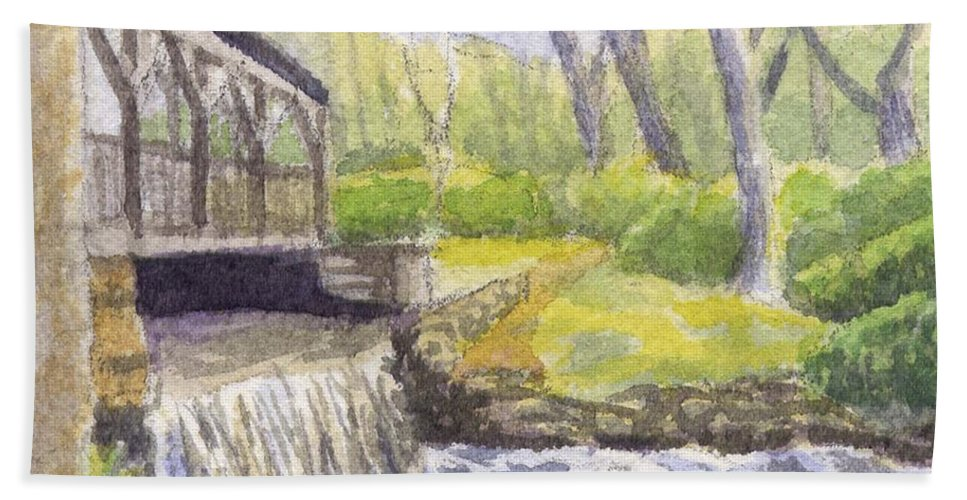 Moore State Park Hand Towel featuring the painting Beside The Dam by Sharon E Allen