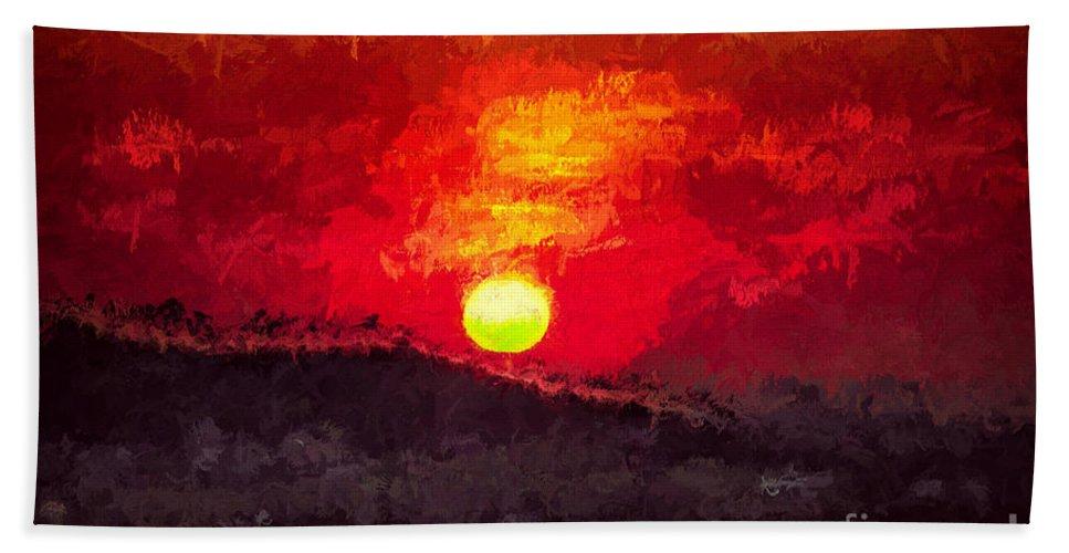 Beskidy Hand Towel featuring the digital art Beskidy Sunset by Mariola Bitner