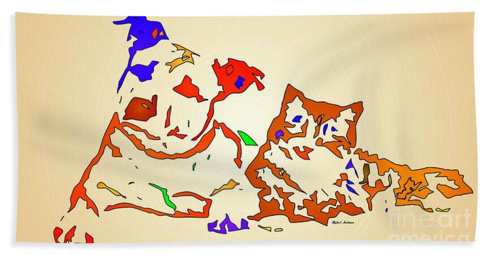 Dog Hand Towel featuring the digital art Best Buddies. Pet Series by Rafael Salazar