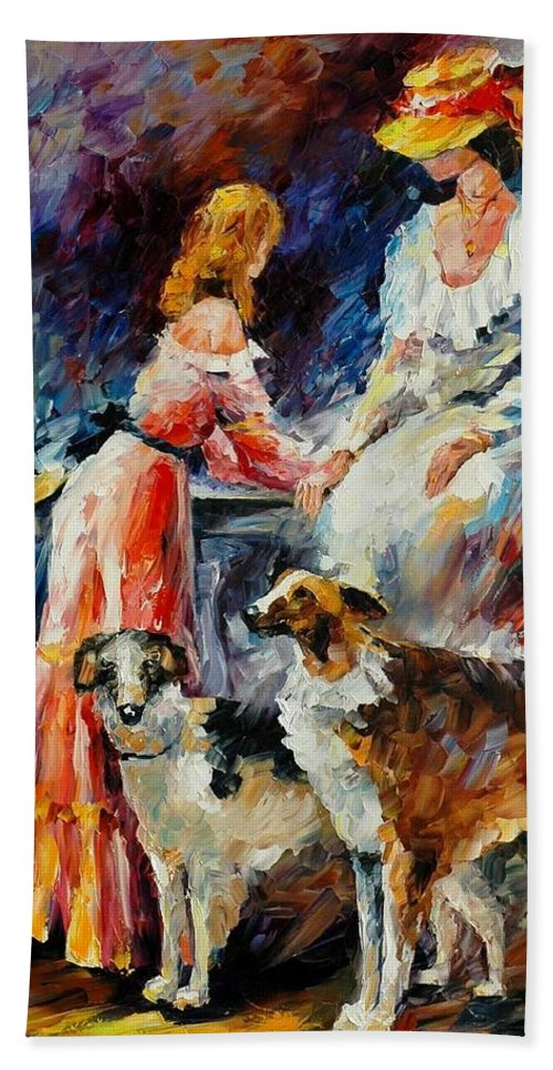 Afremov Bath Sheet featuring the painting Best Friends by Leonid Afremov