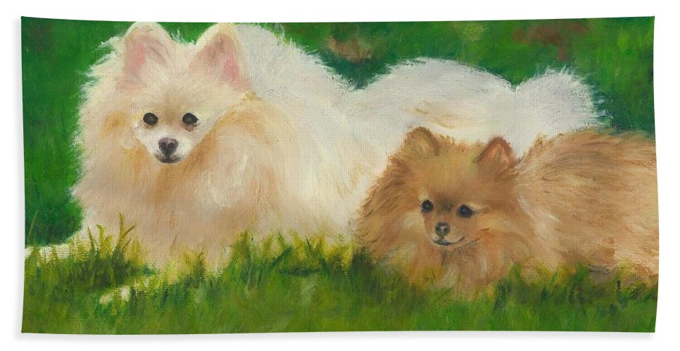 Dogs Hand Towel featuring the painting Best Friends by Paula Emery