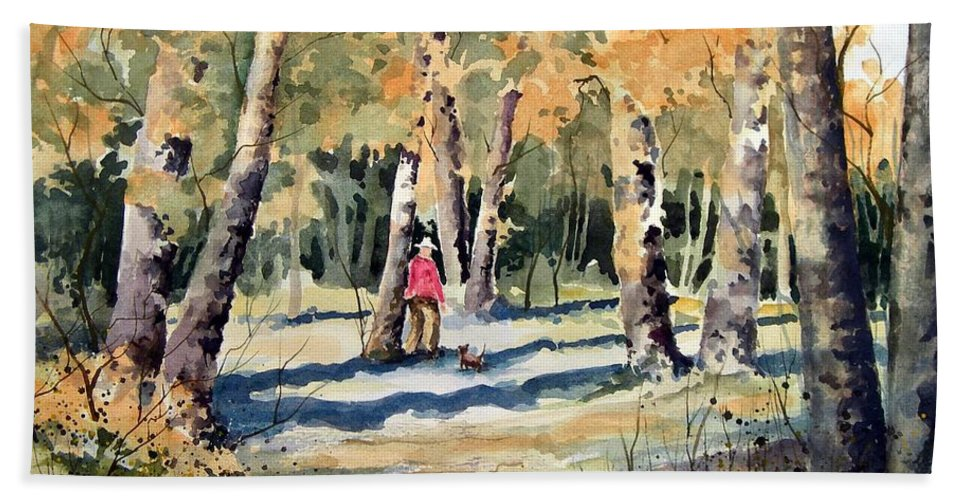 Dog Hand Towel featuring the painting Walking With A Friend by Sam Sidders