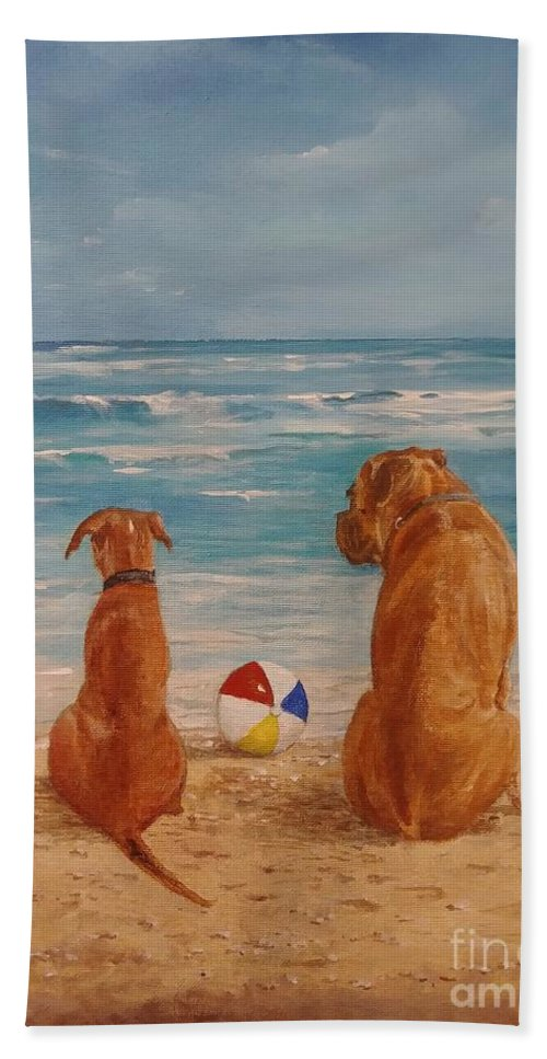 Beach Hand Towel featuring the painting Best Friends by Sinisa Saratlic