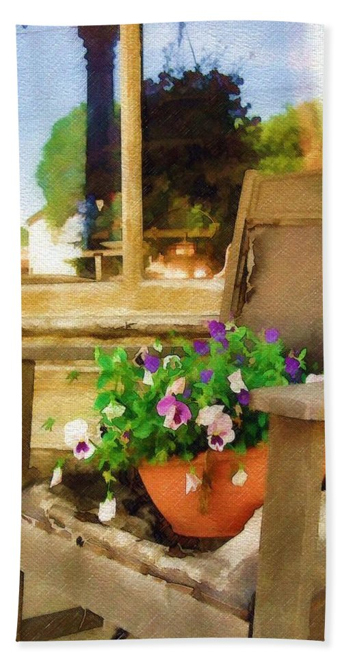 Pansies Bath Sheet featuring the photograph Best Seat In The House by Sandy MacGowan
