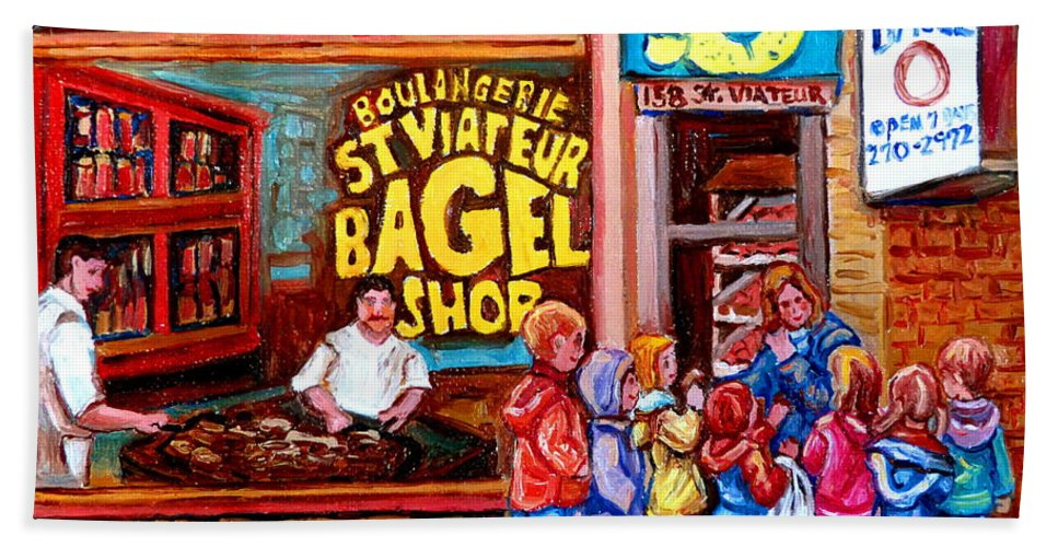 Children Hand Towel featuring the painting Bet You Cant Eat Just One by Carole Spandau