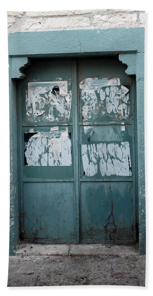 Bethlehem Hand Towel featuring the photograph Bethlehem - Blue Door by Munir Alawi