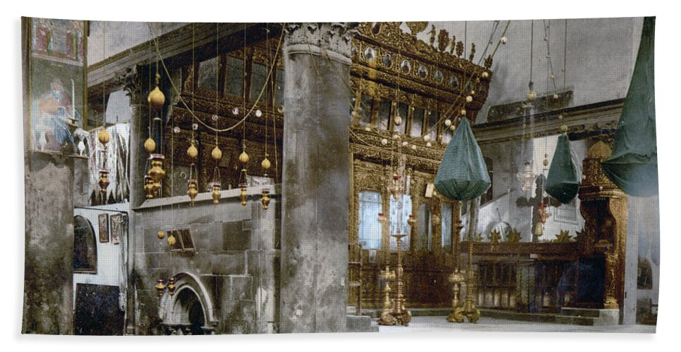 Nativity Hand Towel featuring the photograph Bethlehem - Inside Nativity Church 1890 by Munir Alawi