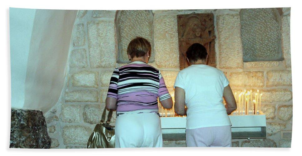 Bethlehem Hand Towel featuring the photograph Bethlehem - Milk Grotto Church Lighting Candles by Munir Alawi