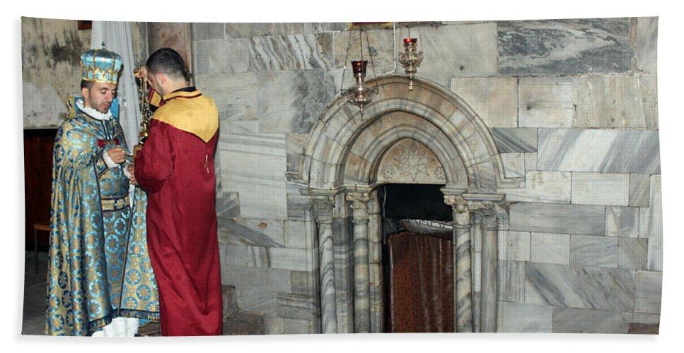 Armenian Hand Towel featuring the photograph Bethlehem - Nativity Church - Preparation For Armenian Mass by Munir Alawi