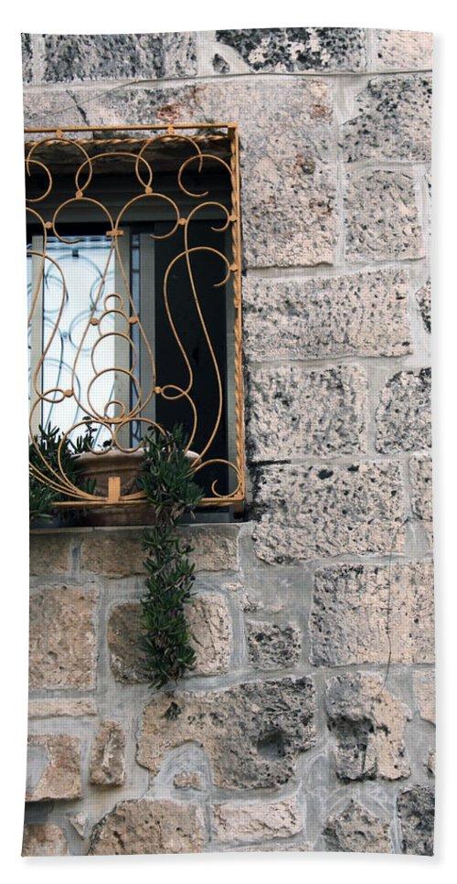 Bethlehem Hand Towel featuring the photograph Bethlehem - Nativity Church Window by Munir Alawi