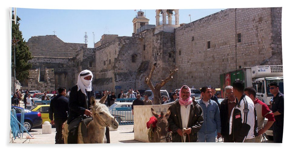 Bethlehem Hand Towel featuring the photograph Bethlehem - Nativity Square Demonstration by Munir Alawi