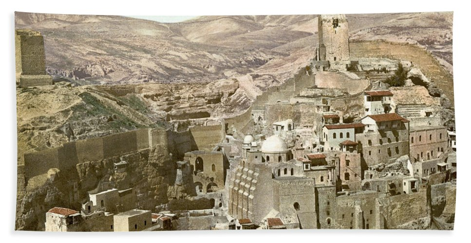 Bethlehem Hand Towel featuring the photograph Bethlehem Mar Saba Monastery by Munir Alawi