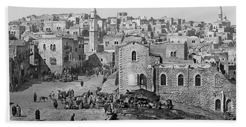 Bethlehem Hand Towel featuring the photograph Bethlehem Year 1890 by Munir Alawi