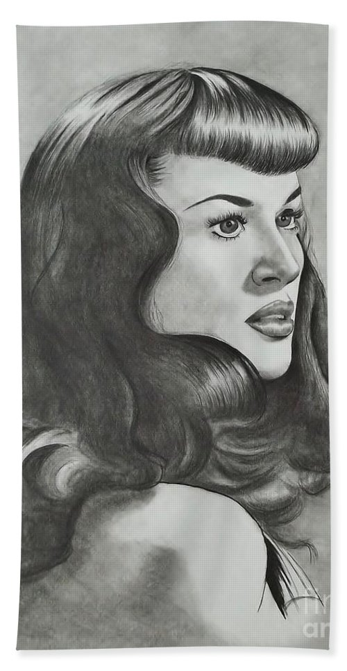 The Notorious Betty Page Hand Towel featuring the drawing Betty Page by Lise PICHE