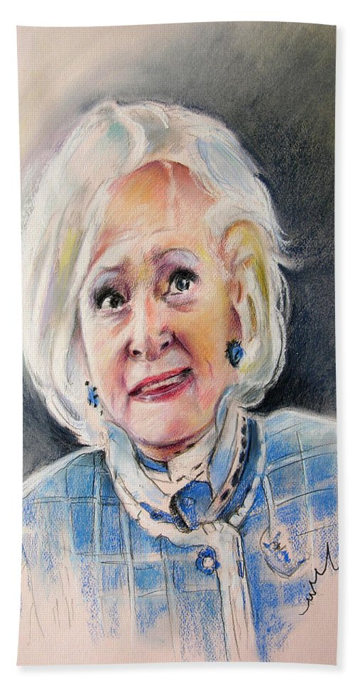 Betty White Bath Sheet featuring the painting Betty White In Boston Legal by Miki De Goodaboom