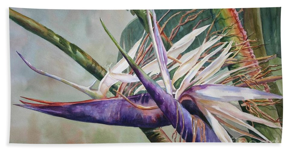 Bird Of Paradise Bath Sheet featuring the painting Betty's Bird - Bird Of Paradise by Roxanne Tobaison