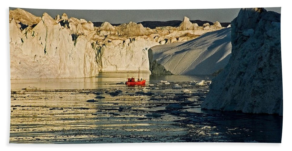 Greenland Hand Towel featuring the photograph Between Icebergs - Greenland by Juergen Weiss