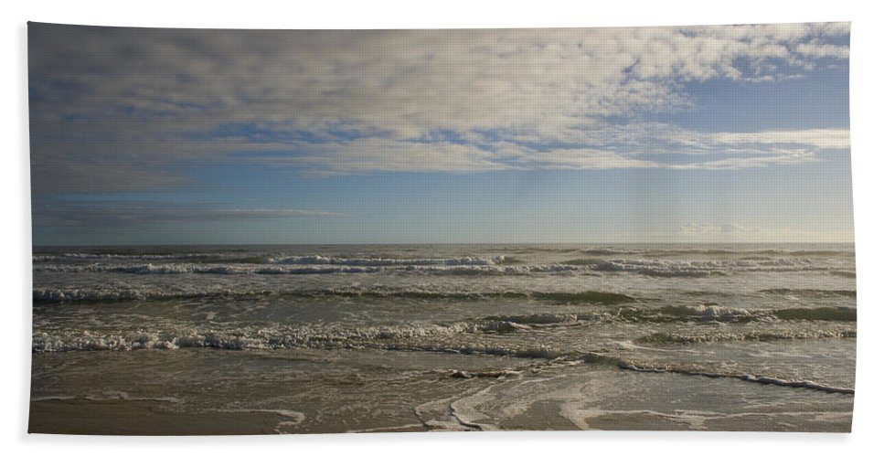 Wave Sand Ocean Beach Sky Water Wave Tide Sun Sunny Vacation Cloud Morning Early Bath Towel featuring the photograph Between Night And Day by Andrei Shliakhau