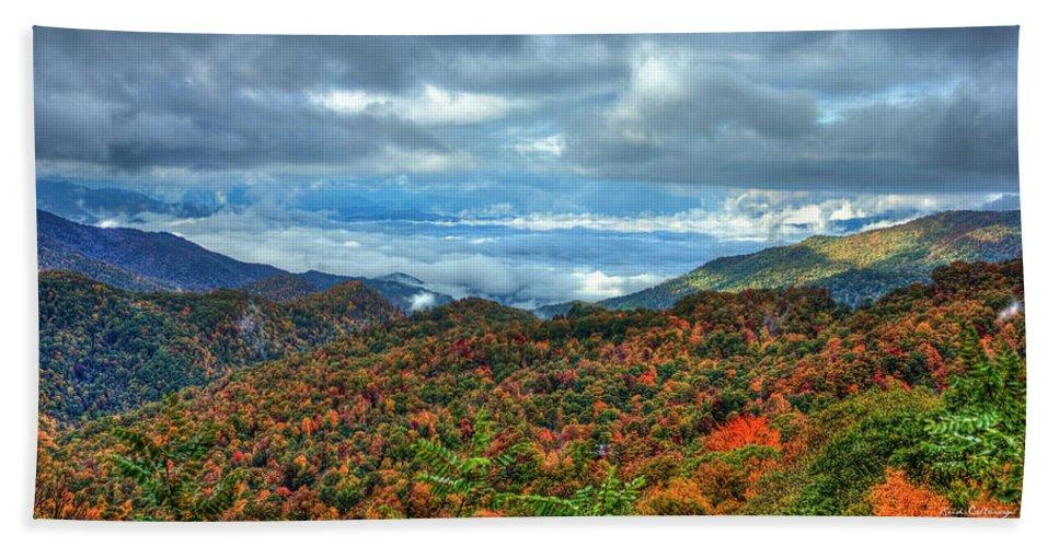 Reid Callaway Blue Ridge Mountain Parkway Bath Sheet featuring the photograph Between The Clouds Blue Ridge Parkway North Carolina Art by Reid Callaway