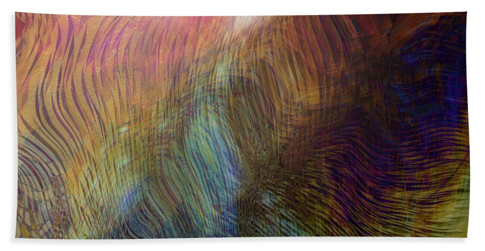 Abstract Art Bath Sheet featuring the digital art Between The Lines by Linda Sannuti