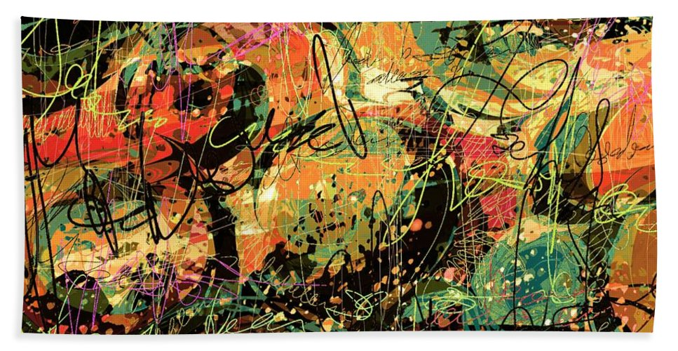 Abstract Bath Sheet featuring the digital art Between The Lines by Rachel Christine Nowicki