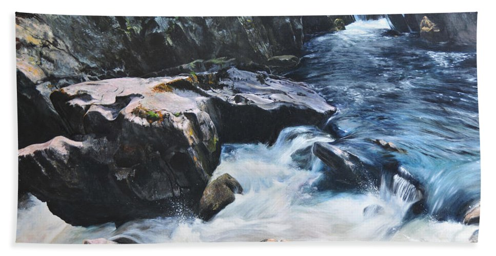 Landscape Bath Sheet featuring the painting Betws-y-coed Waterfall by Harry Robertson