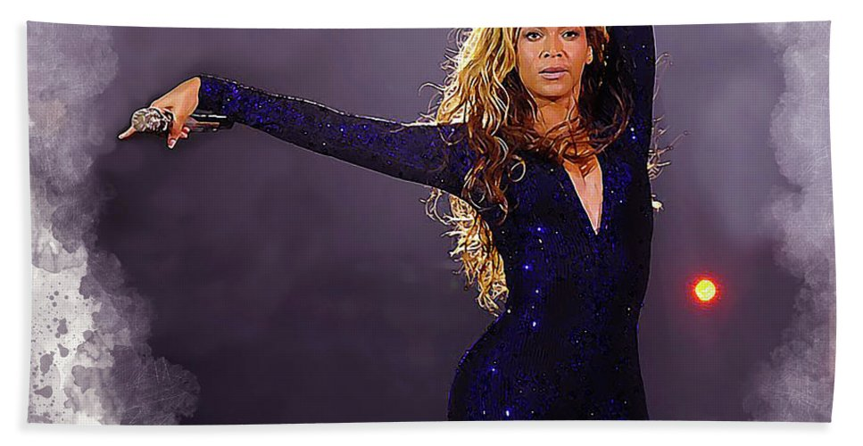 Beyonce Hand Towel featuring the digital art Beyonce #2 by Karl Knox Images