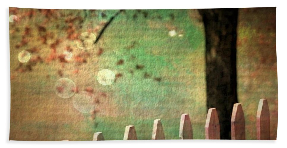 Picket Fence Hand Towel featuring the photograph Beyond Fenceposts by Ellen Cannon