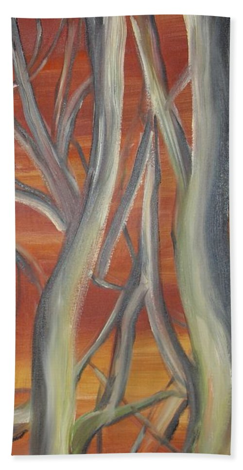 Trees Forest Original Painting Abstract Hand Towel featuring the painting Beyond by Leila Atkinson