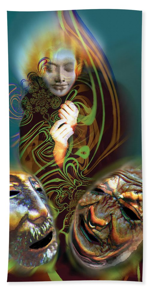 Mask Hand Towel featuring the digital art Beyond Masks by Tony Macelli
