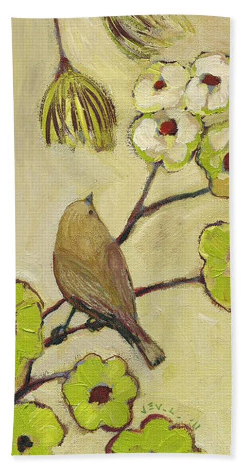 Bird Bath Towel featuring the painting Beyond The Dogwood Tree by Jennifer Lommers