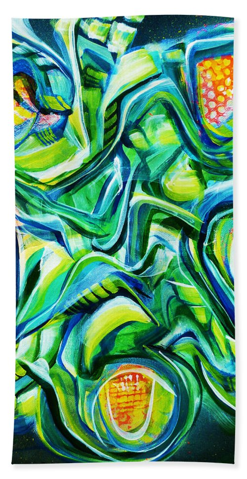 New Hand Towel featuring the painting Beyond The Unknown - Right by Larry Calabrese