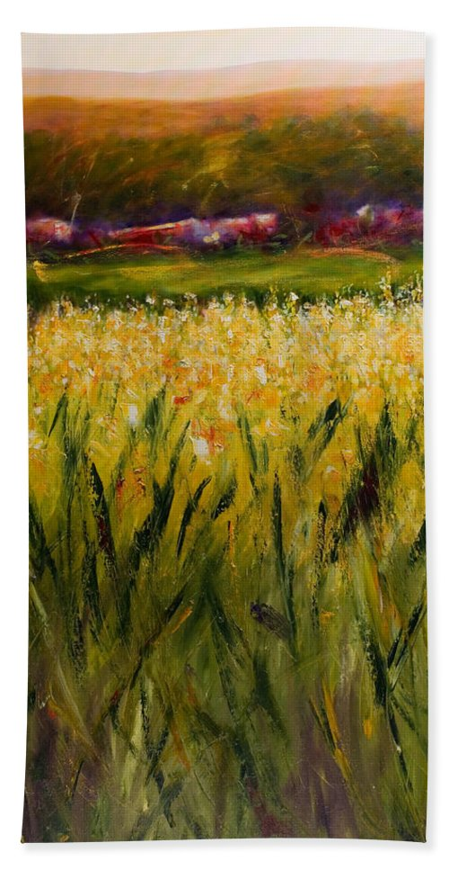 Landscape Bath Towel featuring the painting Beyond The Valley by Shannon Grissom