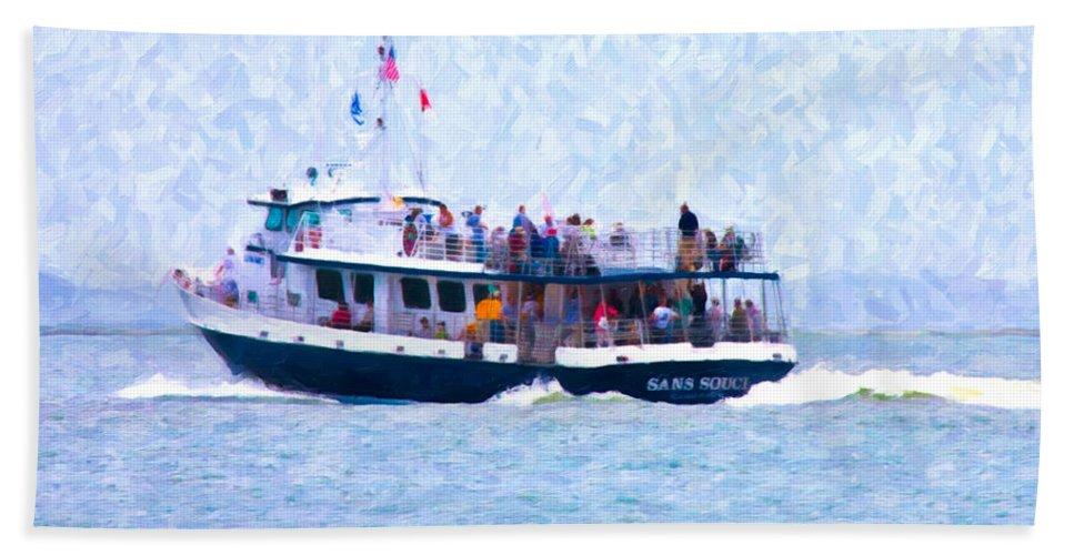 Ferry Bath Sheet featuring the digital art Bhi Ferry by Betsy Knapp