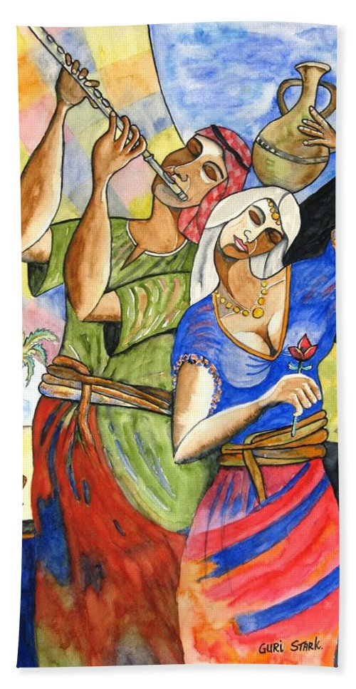 Watercolor Hand Towel featuring the painting Biblical Story by Guri Stark