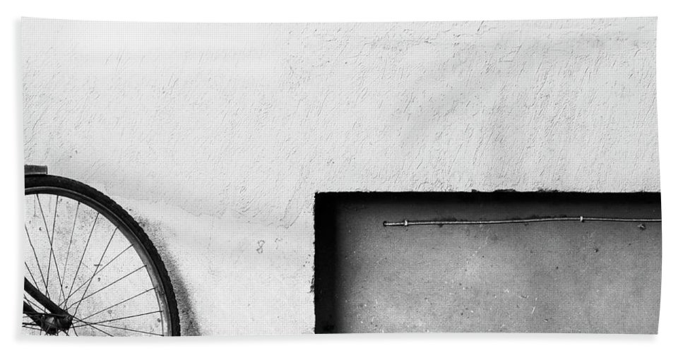 Minimal Bath Sheet featuring the photograph Bicycle And Rectangle by Prakash Ghai