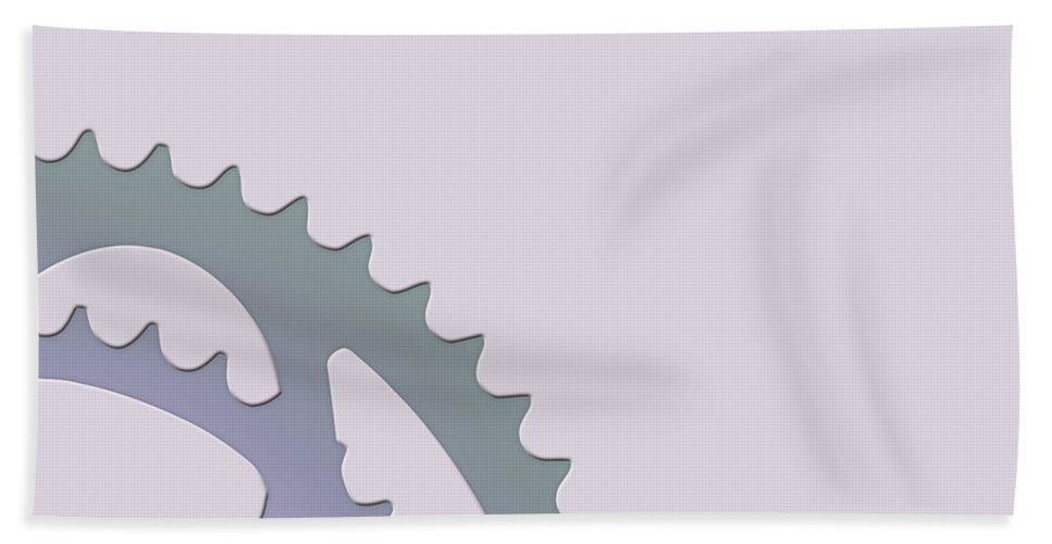 'two-wheel Drive' Collection By Serge Averbukh Hand Towel featuring the digital art Bicycle Chain Ring On Lavender Water - 2 Of 4 by Serge Averbukh