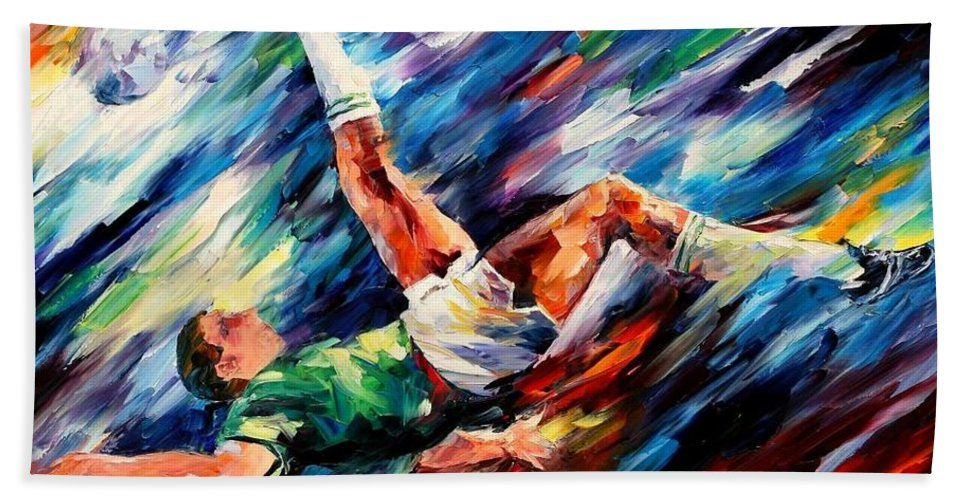 Afremov Hand Towel featuring the painting Bicycle Kick by Leonid Afremov