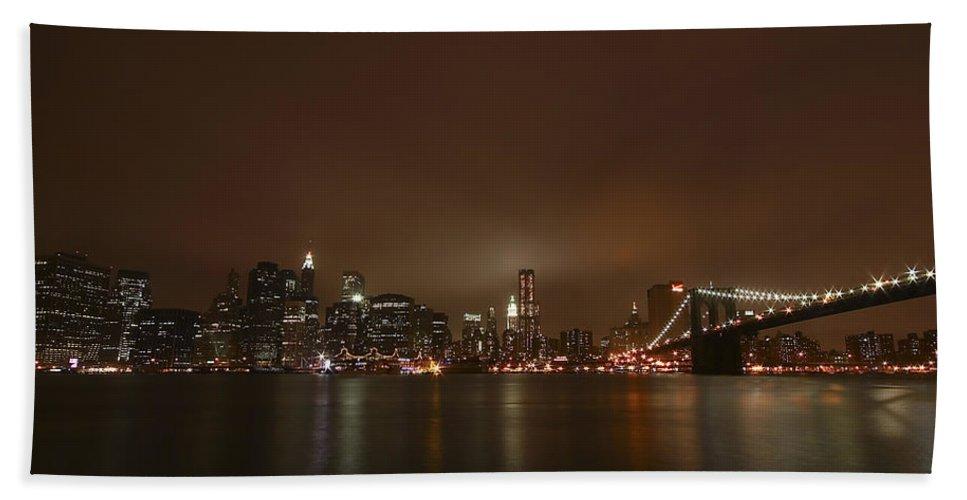 Bridge Hand Towel featuring the photograph Big Apple Lights by Evelina Kremsdorf