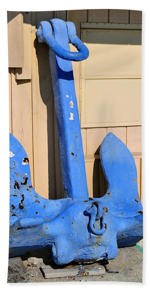 Fine Art Photography Bath Sheet featuring the photograph Big Blue Anchor by David Lee Thompson