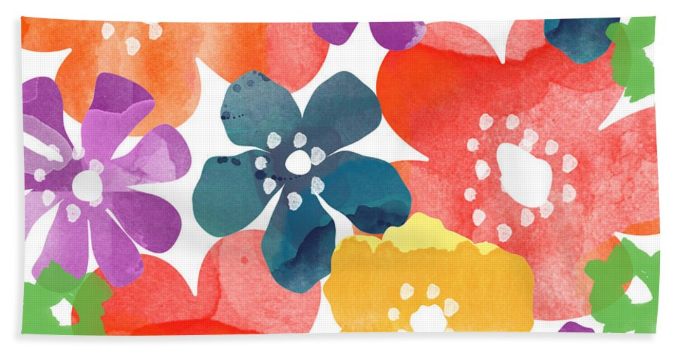 Flowers Bath Towel featuring the painting Big Bright Flowers by Linda Woods