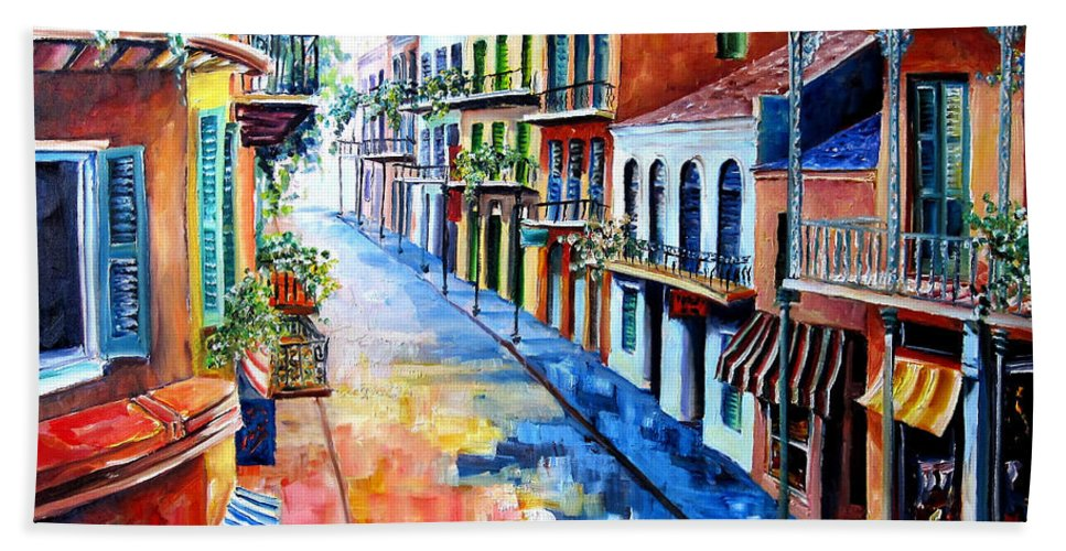 New Orleans Hand Towel featuring the painting Big Easy Sunshine by Diane Millsap